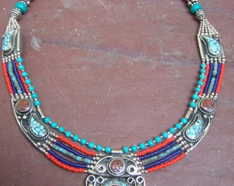 Exotic Handmade Turquoise & Coral Beaded Silver Necklace c 1980