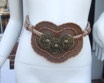 Exotic Handmade Brown Leather Brass Medallion Belt c 1980s