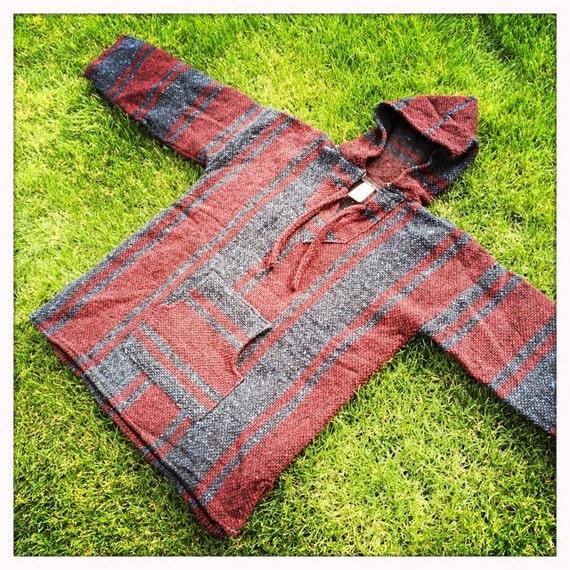 Mexican Beach Blanket: Vintage Mexican Blanket Blue & Burgundy STRIPED Woven BEACH