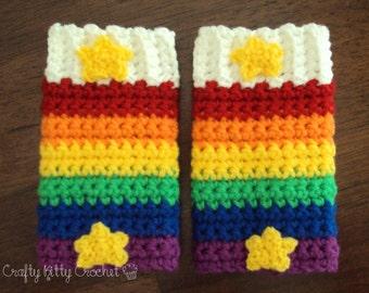 Crochet Rainbow Brite-Inspired Legwarmers - Babies, Toddlers, Kids - Pretend Play, Costume, Photo Prop