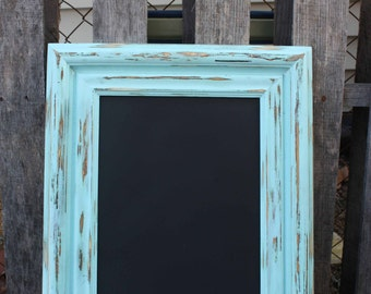 Reclaimed Shabby Chic Blue Framed MAGNETIC CHALKBOARD - Rustic Farmhouse Decor - Upcycled Wall Chalkboard - Memo Message board