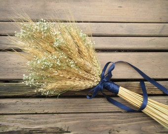 Simple Summer Wheat Bridesmaid/Flower Girl Bouquet -Dried Wedding Bouquet- Wheat Bouquet with Customizable Additions- Wheat