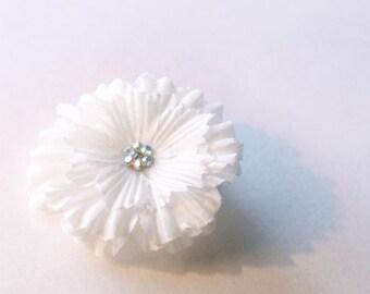 Bridal White Flower Hair Clip
