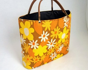 Vintage Yellow and Brown Beach Bag Shopping Tote 70s Mod Fashion
