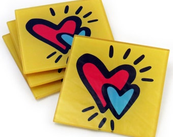 Hearts Tempered Glass Coasters