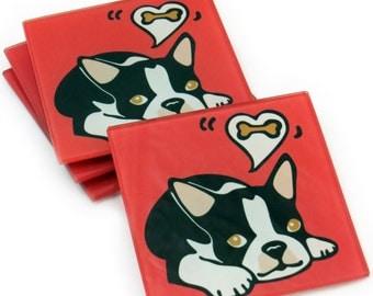 Boston Terrier/Boston Terrier Puppy/Dog/Puppy Tempered Glass Coasters