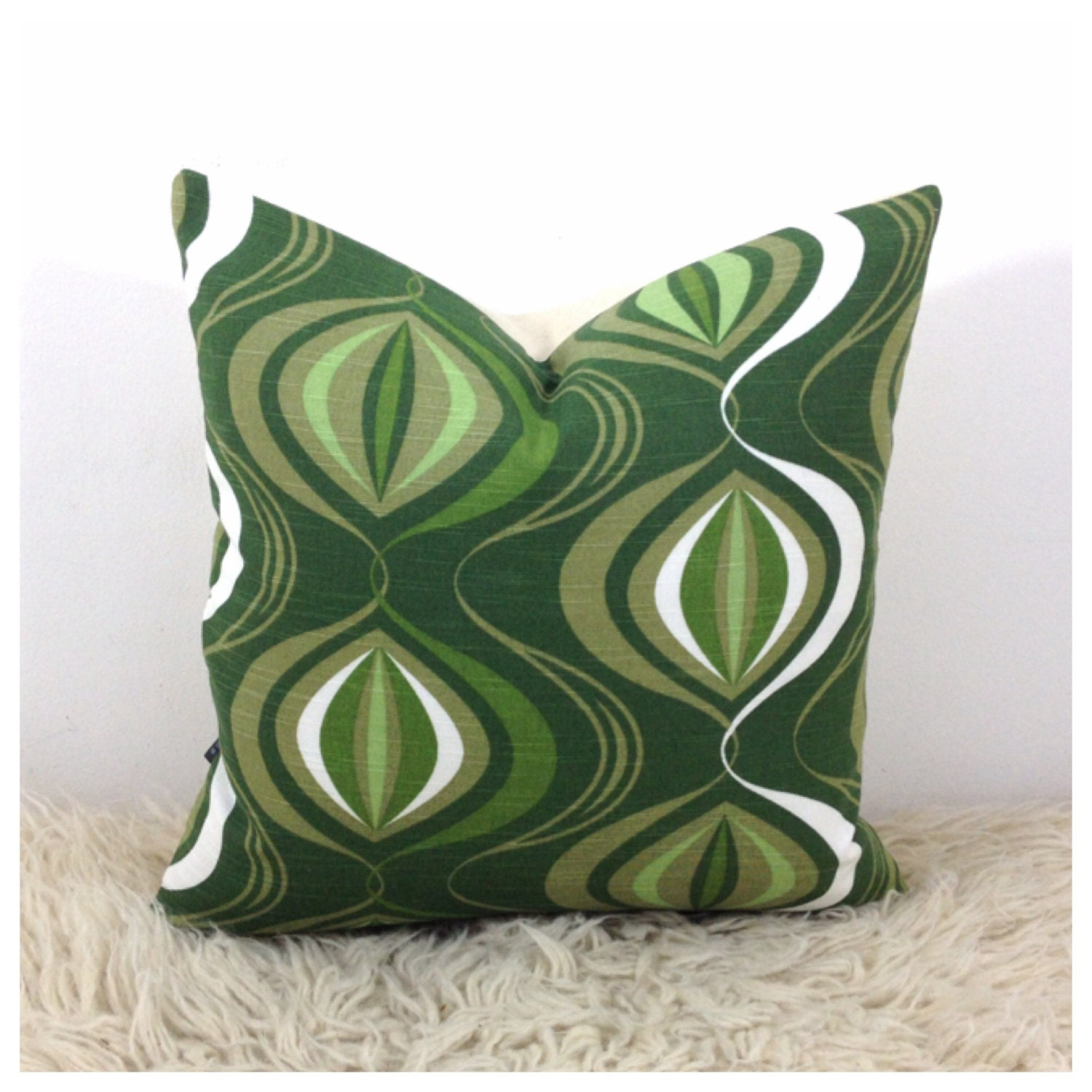 Throw Pillow Cover 1970s Vintage Fabric 16 x 16