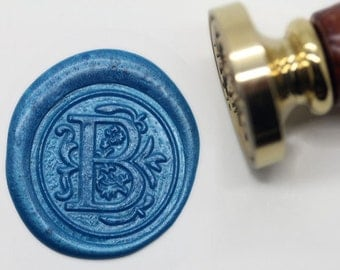 "S1144 Alphabet Letter "" B "" Wax Seal Stamp , Sealing wax stamp, wax stamp, sealing stamp Flower Sytle"