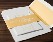 Simple Wedding Invitation, Traditional Wedding Invitation Suite, Simple Invite, Yellow and Gray, Invitation Sample - SIMPLE
