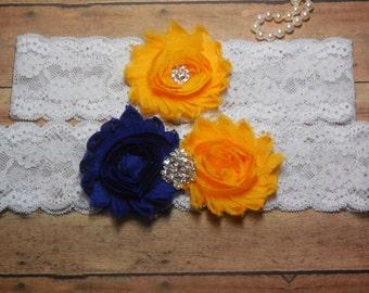 Garter, Wedding Garter, Lace Garter, Royal Blue Garter, Yellow Garter, Blue and Yellow, Royal Blue, Brides garter, Blue Garter