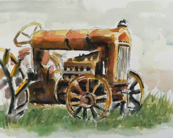 Fordson Tractor - Print of my original watercolor painting