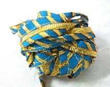 5 Yards Gota Ribbon - Indian Saree Trim - Turquoise and Gold Border - Gota Patti Border