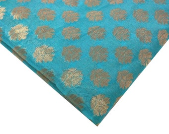 Teal Blue |  Gold  Chanderi Silk Fabric - Teal And Gold Chanderi By Yard