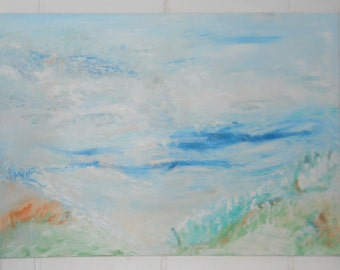 Ocean Harmony, Beach Oil Painting, Blue Ocean Sand Beach Grass Soft Blues Orange Green Peaceful, Kathleen Leasure, FromGlenToGlen