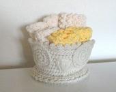 Basket of 6 cotton crochet bathroom face body bath shower wash cloths #BC01