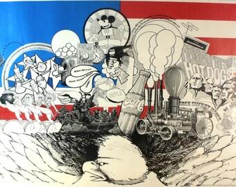 "Vintage Poster ""The American Dream"" 1969 Original Rare"