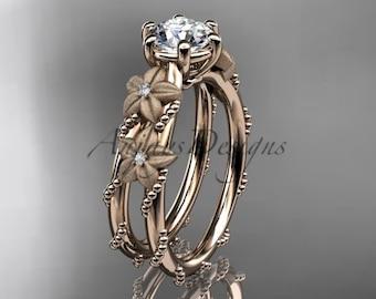 14kt rose gold diamond leaf and vine, flower wedding ring,engagement ring  ADLR66