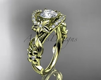 14kt yellow gold diamond unique engagement ring,wedding ring ADLR211