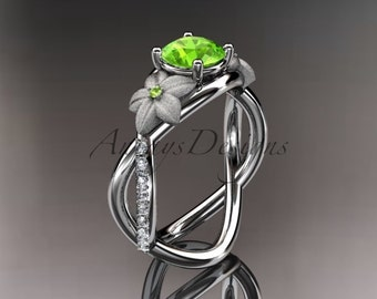 14kt white gold diamond leaf and vine birthstone ring ADLR90 Peridot - August\'s birthstone. nature inspired jewelry