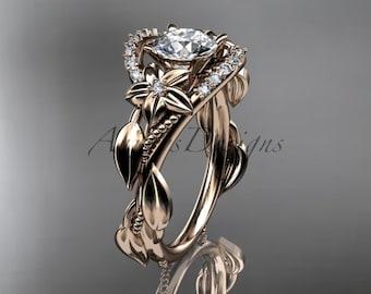 14kt rose gold diamond unique engagement ring,wedding ring ADLR326