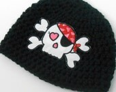 Crochet Skull Hat, Pirate, Baby Girl - 0 to 3 Months