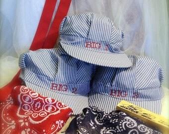 Boys train hat with bib , Train Birthday, Toddler train hat, Train conductor hat, Train engineer hat, Thomas the Tank train hat