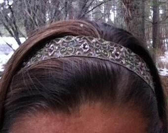 Adjustable Olvie Green & Pink Headband