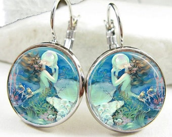 Mermaid With Giant Pearl Leverback Earrings (ER0508)