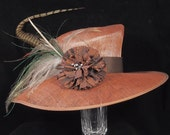 Copper Straw Kentucky Derby Hat with Pheasant Feather