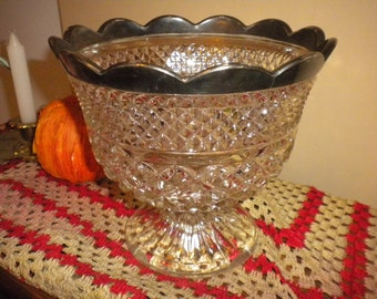 Lovely Heavy Vintage Cut Glass Pedestal Bowl, Entertaining, Fruit bowl, Home Decor