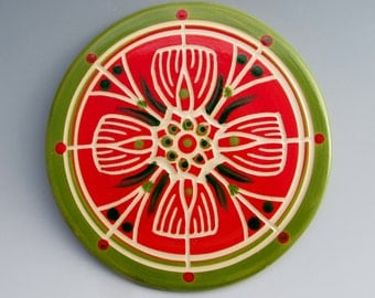 Sweet Briar College Fundraiser: Ceramic Trivet by LGG Creative Art, Pink and Green, Floral Design--Style #1