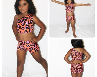 CORAL- Cheetah and Coral Girls Dance Wear, Competition Dance Wear, Pageant Girl Dance Wear, Dancing Suit, Little Girl Dance Wear