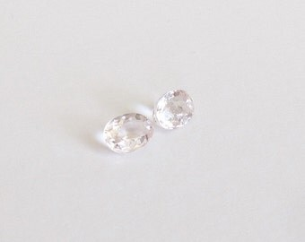 Natural Champagne Peach Morganite, Unheated, Oval Cut, Lot (2) of 1.67 carat