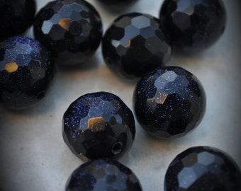 Genuine Faceted Blue GoldStone  16mm Beads