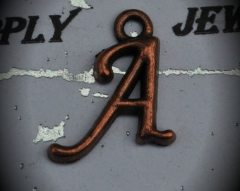 Letter A Red Copper Charm