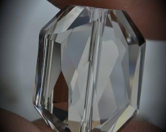 5520 18mm Genuine Swarovski Crystals Graphic Beads Silver Shade