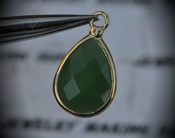 Gold Plated Bezel Brass Faceted Glass Tear Drop Pendant - Dark Green Opal