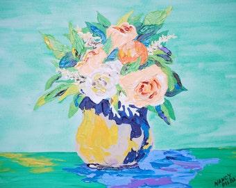 "flowers-peach and orange bouquet-acrylic, original, signed, pallet knife, 12x16"" flat canvas"