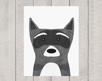 Raccoon Nursery Art Print - Woodland Animal Art