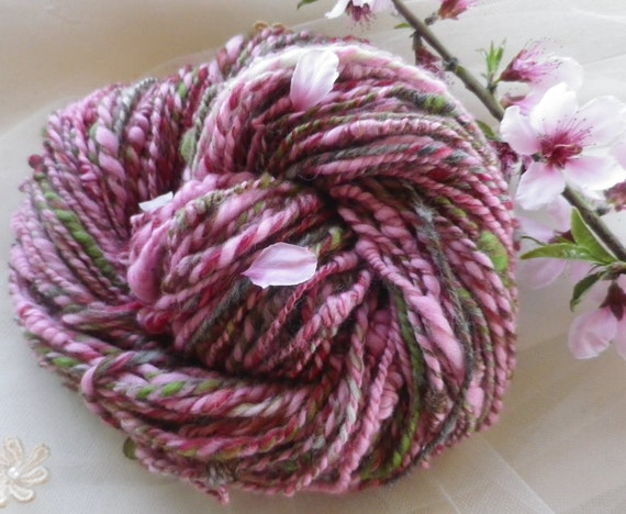Soft Handspun Yarn - PEACH BLOSSOM - Silk, Alpaca, Merino Yarn - 3.5 ounces and 100 yards - made to order