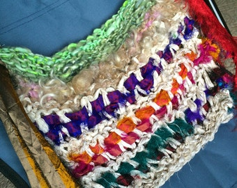 SALE Recycled Sari Silk Ribbon Boho Bag Ren Faire Hippie Eco Purse Pearl White Rainbow Mohair Lock Spun Moss Green Merino Art Yarn