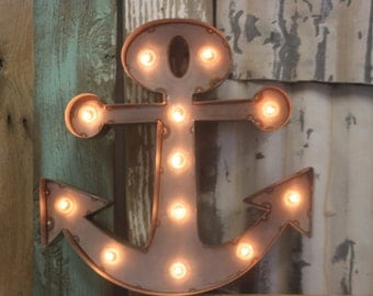LARGE Old Vintage Style Marquee Anchor Metal Steel