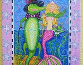 "The Mermaid & the Alligator rPainting 18"" x 24"",  Giclee on canvas print by Florida Artist, Kim McCoy, Key West Style"