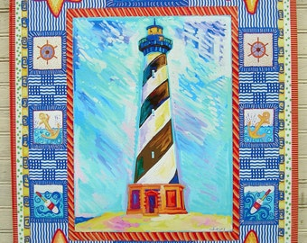 "Cape Hatteras light house 18""x24""  giclee on canvas by artist Kim McCoy,coastal art, beach decor print,coastal living"