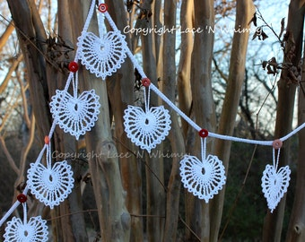 Fairytale Wedding Bead Crochet Pattern Vintage Lace Heart Doily Garland Renaissance Fair Reenactment