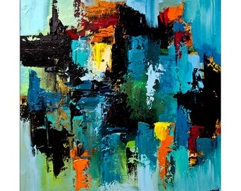 Blue Colorful Abstract Art Contemporary Acrylic Abstract On Canvas Ready To Hang ORIGINAL Textured Painting  by Osnat Tzadok