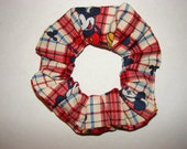 Mickey Mouse Red Blue Plaid Fabric Hair Scrunchie, Disney mice ears, gifts for her, womans accessories, stocking stuffers, handmade scrunchy