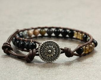 Leather Wrap Bracelet with Black Onyx, Jasper, and Glass Beads, Leather Cord, Single Wrap, Onyx Bracelet, Jasper Bracelet