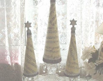 Christmas Tree Mantletop Shabby Cottage Chic Bling Tabletop