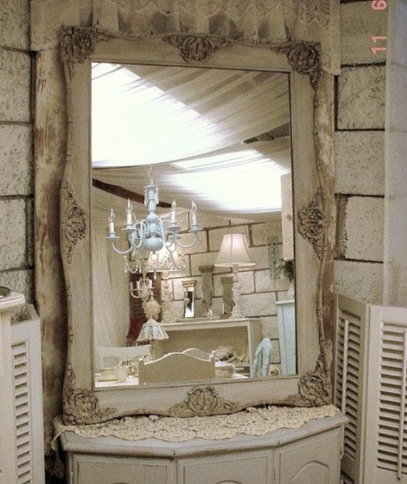 Miroir Baroque Vintage peint Chic Français en détresse grand fleuri